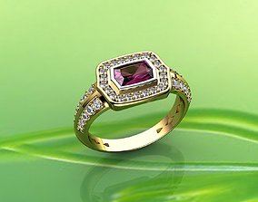 Pink Sapphire and Diamond Ring in 18k 3D print model