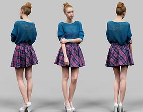Sexy Girl with Long Legs Skirt White Heels 3D model