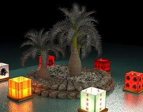 3D Chinese water lantern with Hawaii coconut tree