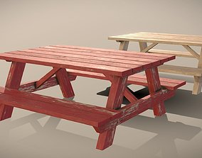 Picnic Table - Clean and Worn Variants 3D asset