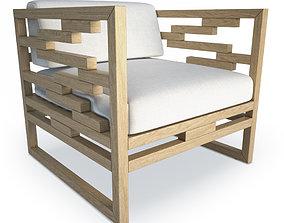Kontiki Wooden Outdoor Armchair 3D model