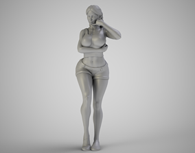 Girl With Call Me Sign 3D printable model