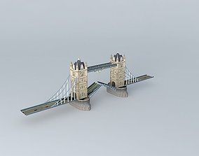 3D model 2012 olympic rings on tower bridge