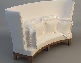 3D model Curved High Back Sofa