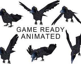 Crow Lowpoly 3D asset animated