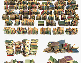 3D large collection of old books