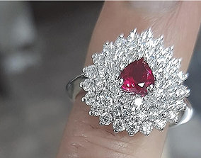 Women ring with gems Heart ruby anello 3D print model 2