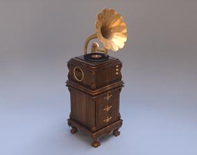 3D asset Gramophone Vintage Vinyl Music Player
