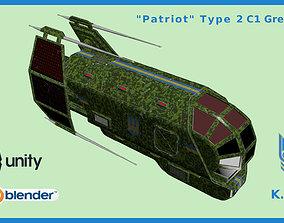 Spaceship Patriot Type 2 C1 Green 3D asset