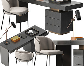 Minotti Carson desk Fil noir chair set 3D