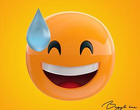 Emoji Nervous Grin 3D asset