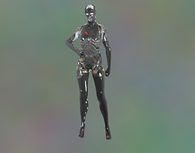 animated Sci-Fi Android Cyber Robotic Model rigged 1