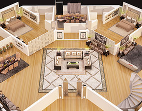3D FLOOR PLAN OF LUXURY HOUSE GROUND FLOOR