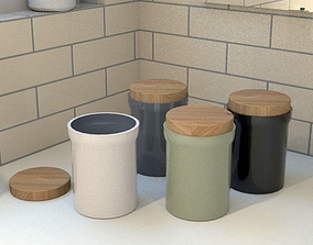 3D model kitchen storage containers ceramic