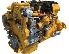 Yellow Truck Engine Cat 3D model