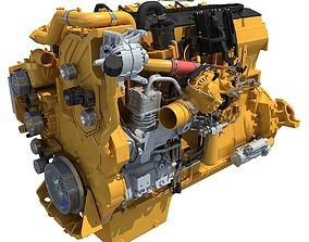 Yellow Truck Engine Cat 3D model