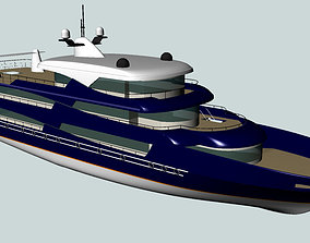 Passenger trip ship 3D model industrial