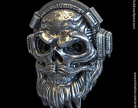 Skull with headphone vol1 ring for 3d print