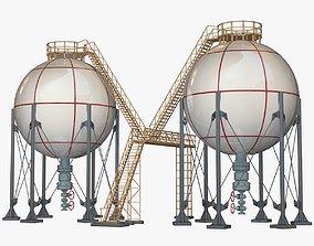 3D model Industrial Storage Spherical Tanks