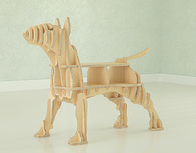 3D model CNC cutting templates for plywood bull terrier