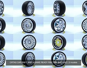3D ORTAS CAR RIM 7 AND 8 GAME READY RIM TIRE AND DISC
