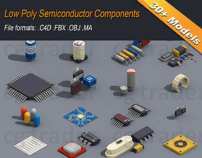 Low Poly Semiconductor Components 3D model realtime
