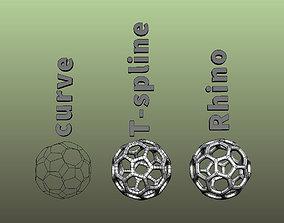 3D printable model Sphere T-spline Rhino and curve