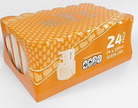 24 pack shrinkwrapped 330ml sleek cans with a card tray 3D