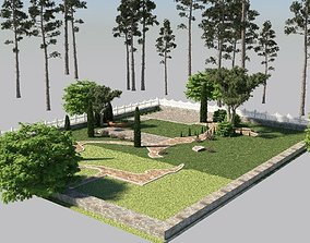 3d exterior yard scene for c4d - just put a house