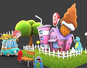 3D model Cartoon Amusement Park