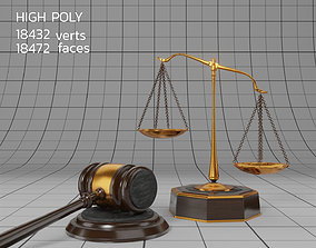 3D model Lawyer Libra and Hammer