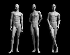 Animated Male Base Mesh - 3 poses 3D model game-ready