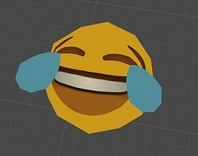 Laughing Emoji Face Low Poly 3D asset