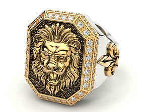 A large ring with a lion and an 3D printable model 4