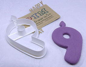 3D printable model 4 inches candle number 9 cookie cutter