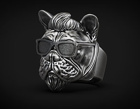 French bulldog Dog Ring Rock star STL 3d model for 3d 1