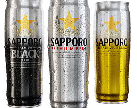 PBR Sapporo Premium Beer Can 3D model