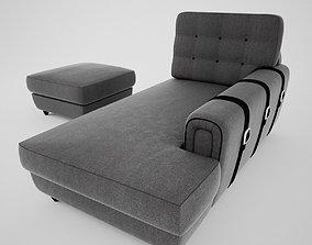 3D Chaise Longue y Pouff