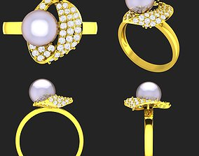 3D printable model Collection of 20 ladies pearl rings - 5