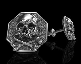 3D printable model skull earrings studs 2