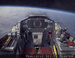 3D model VR / AR ready Sci Fi Fighter Cockpit 7