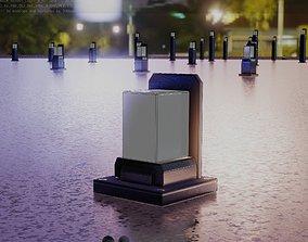 3D model Street Light 8 Bollard 200mm Futuristic 2