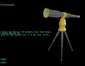 Low poly telescope 1 3D asset