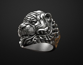 Tiger ring Animal STL 3d model for 3d printing jewelry