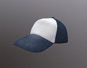 3D model low-poly basebal cap