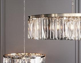 3D RH 1920S ODEON RHYS CLEAR GLASS PRISM ROUND 43 Nickel
