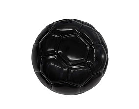 3D model european Black Football with Stitching