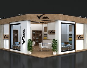 3D model Exhibition Stand 7x8m Height 360 cm 2 Side Open