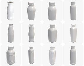 plastic bottles mock up yogurt 3D model