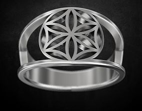 Ring with a flower of life 3D printable model